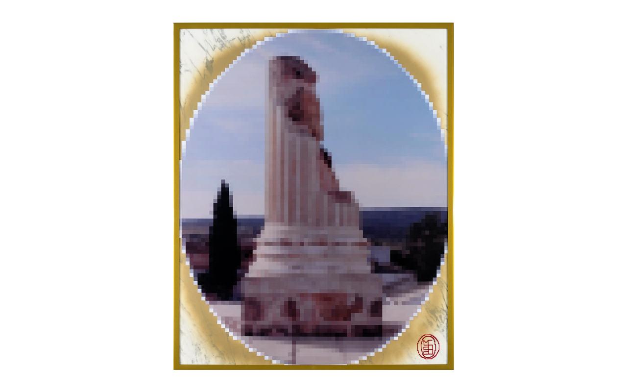 Grand Tour Roma, smalti su poliestere stickerizzato, marmo, acciaio verniciato, cm 100x80