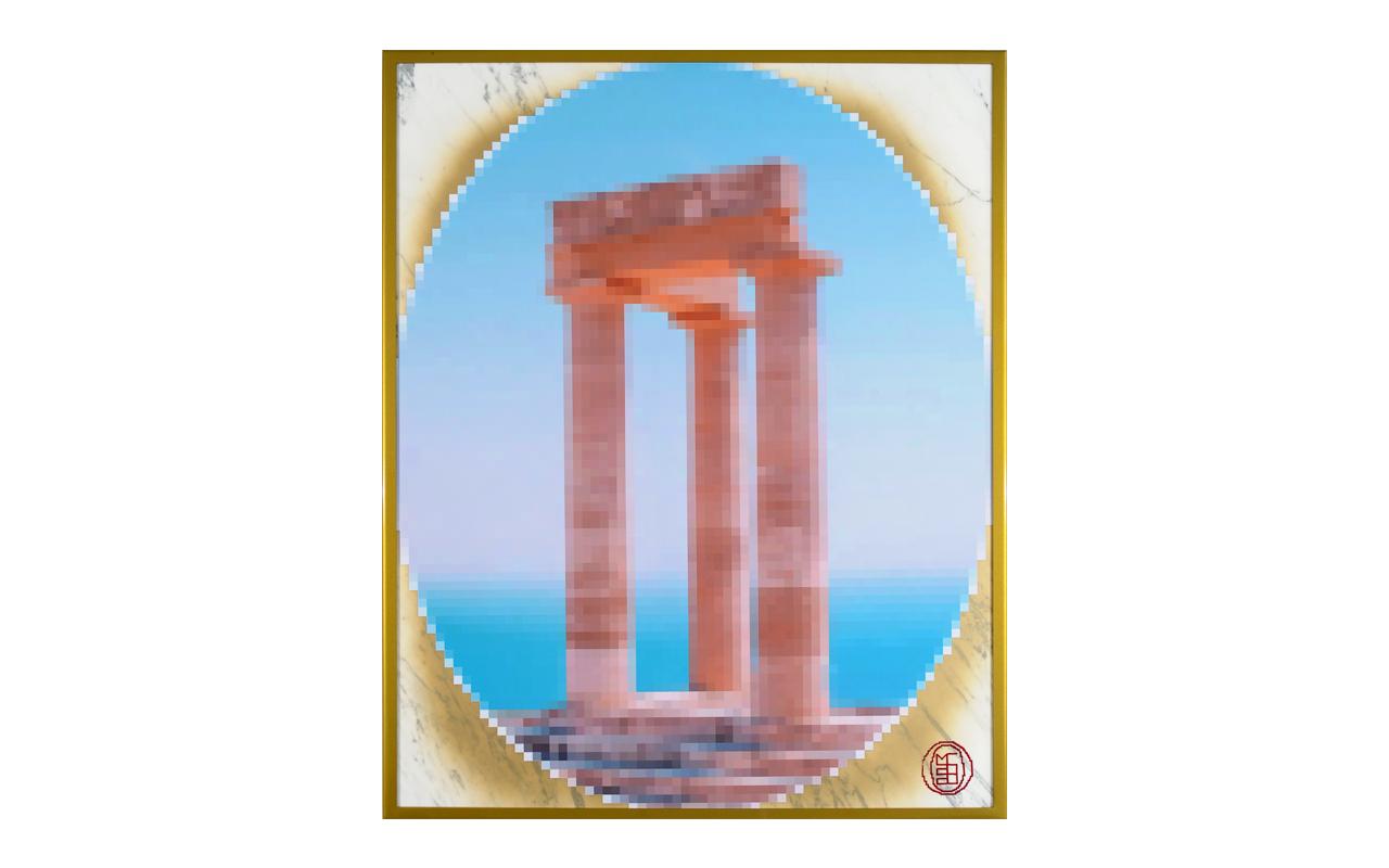 Grand Tour Apollo Rodhes, smalti su poliestere stickerizzato, marmo, acciaio verniciato, cm 100x80
