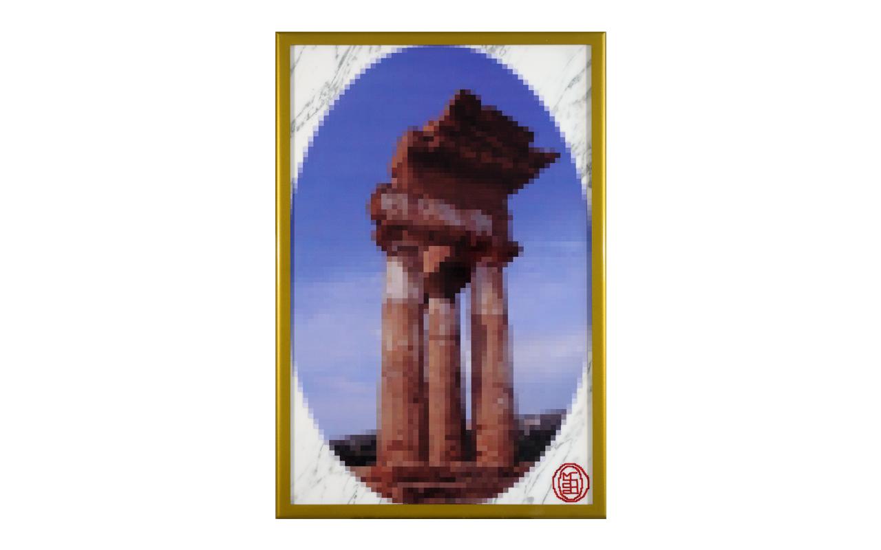 Grand Tour Agrigento, smalti su poliestere stickerizzato, marmo, acciaio verniciato, cm 70x50