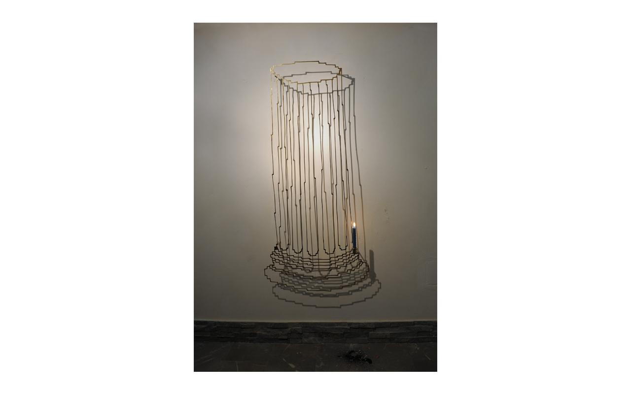 Fori imperiali candle, acciaio cromato, cm 148x68x18